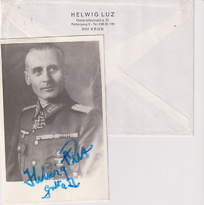 Signed photo Heer Generalleutnant Helwig Luz -Knights Cross recipient