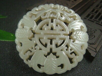 Chinese Antique Celadon Nephrite Hetian-OLD Jade CHINA-FU statues/Pendant