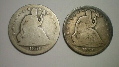 1866 S Motto G-Ag And 1860 S G-Vg Seated Liberty Half Dollar / 2 Better Dates