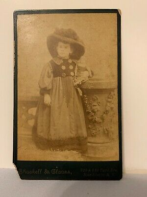 Vintage Photo Young Girl Cabinet Card Shackell&Cluass Portraits New York