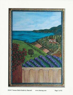 """""""Terrace"""" Counted Needlepoint Stitch Guide by Sharon G."""