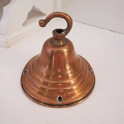 Small antique copper pendant canopy light fitting