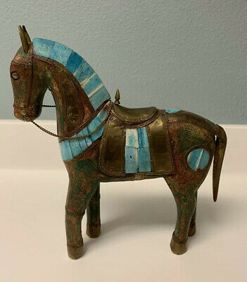 Vintage Horse Hand Carved Wooden Statue Inlaid Brass Copper Saddle Heavy Figure.