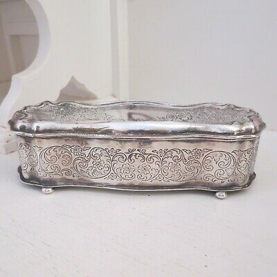 Antique silver plate jewellery box engraved foliage pattern Wilcox USA