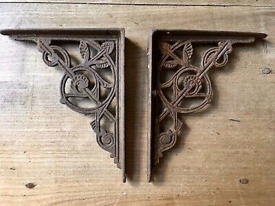 Pair Victorian Brackets Wall Shelf Cast Iron ORIGINAL Antique