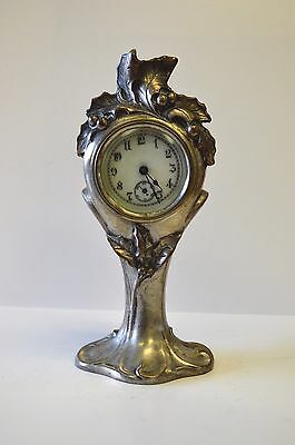 Antique Silver-Plated Art Nouveau Clock
