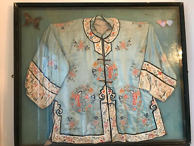 ANTIQUE CHINESE Blue & Silver EMBROIDERED SILK QING DYNASTY ROBE