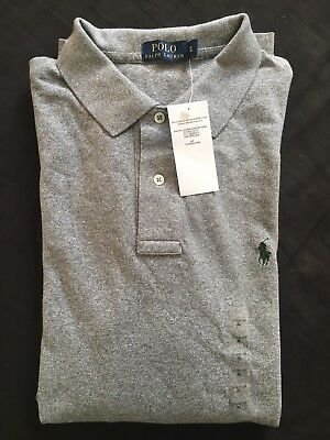 Ralph Lauren Men's Polo Grey Shirt small Green Pony Long Sleeve X-Large RRP £85