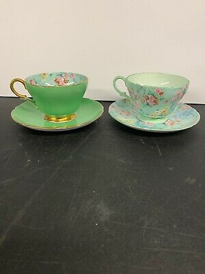 2 Sets Shelley Vintage Rare Fine Bone China England Melody Chintz Cup & Saucer