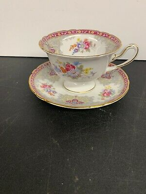 Shelley Georgian Red Fine Bone China Tea Cup & Saucer Set 13361 Floral Gorgeous