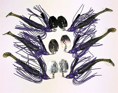 Vibrating Jig  Char//White//Purple 6 Total 3 3//8 /& 3 1//2 w//Weedguard and Trailer