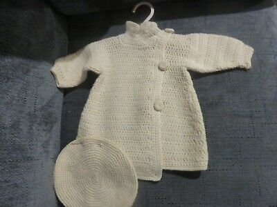 Vintage Childs/Infant Sweater Wool Hand Knit with Tam Hat Beige