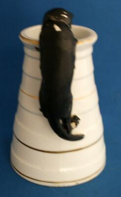 Antique Pottery Jug Black Cat Handle