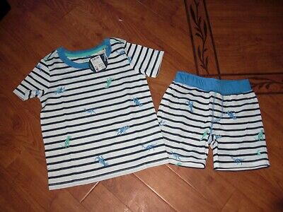Bnwt Boys Arnie Short Summer Pyjamas Pjs Navy Dino Stripes Age 4 Yrs.rrp £24.95
