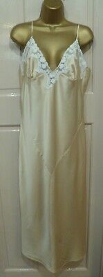 Vintage Style M&S Gorgeous Lt Gold  Glossy Satin Nightdress Pretty Lace Size 16