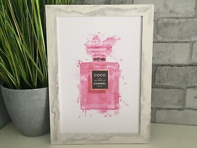 Pink Chanel Perfume Bottle Art picture poster Dressing Room, Bedroom, kitchen A4