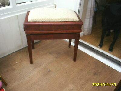 Antique, Adjustable Height Piano Stool - lift up lid giving storage