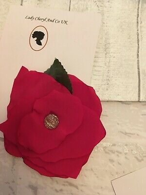 Large Red Poppy Flower Hair Clip Fascinator Dance Burlesque Bridal Prom Races