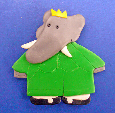 Babar PIN Vintage ELEPHANT Polymer Jewelry Childs Brooch