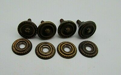 4 Vintage Brass Cabinet Knobs with backs, small size Re claimed used condition.