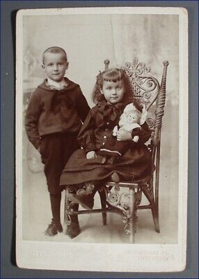 Vintage Cabinet Photo Girl On Wicker Chair With Doll & Brother Next To Her