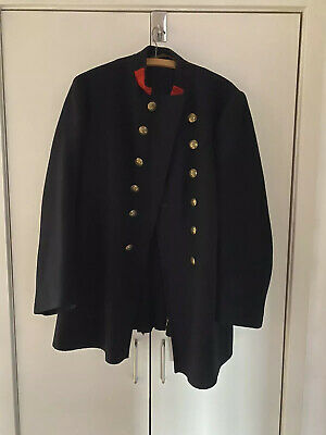 Vintage Firemans Hussar Jacket With Red Wool Collar Festival Dressing Up
