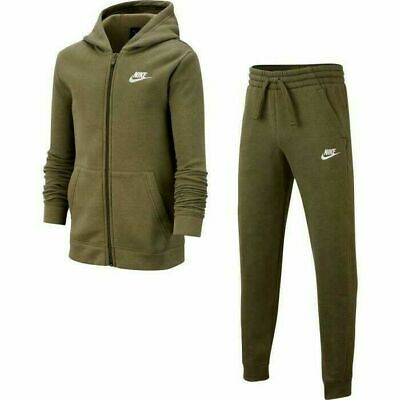 Junior's Nike Hooded Graphic Olive Green Full Tracksuit Cj4342-325