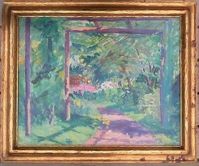 1900s AMERICAN SCHOOL OLD OIL PAINTING TRAQUIL IMPRESSIONISTIC GARDEN PATH SCENE