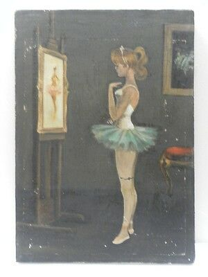 after NORMAN ROCKWELL OLD NY ORIGINAL OIL PAINTING YOUNG DANCING GIRL PORTRAIT