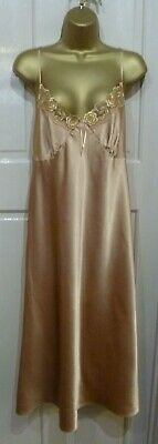 Vintage Style M&S Gorgeous Copper Slithery Liquid Satin Midi Nightdress Size 16