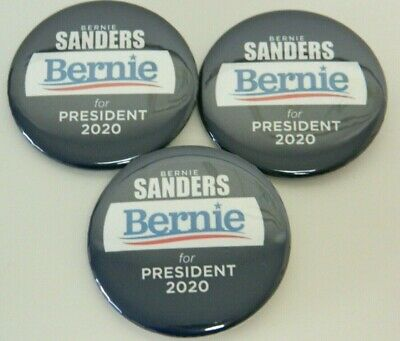 "Bernie Sanders 2020 Buttons/Pins, Set Of 3, 2.25"" diameter pins - FREE SHIPPING"