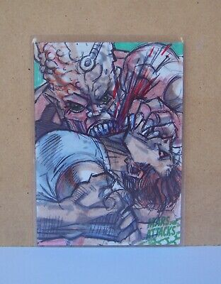 2015 Mars Attacks Occupation Green logo sketch card Marck Labas Chomped by Beast
