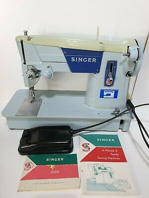 Vintage Singer Sewing Machine Model 359 Fully Working With Bag and Manual