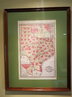 Antique Map of Texas - 1889 - County Map - Large Format - Published by Tunison -