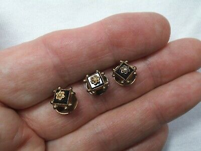 Lot-3 Antique Victorian Gold Filled Studs/Buttons -French Jet Black-Seed Pearl
