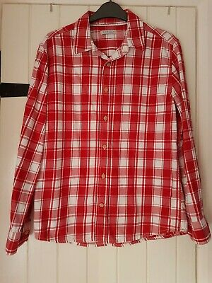 Boys M&S Shirt Aged 14 soft cotton red checked pattern