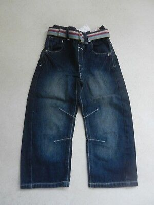 BNWT Next Boys Loose Fit Jeans Dark Blue Age 3-4 Years Adjustable Waist