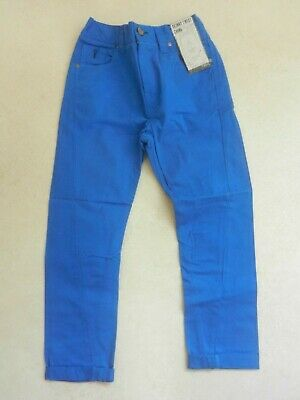 BNWT Next Boys Blue Skinny Twist Chino Trousers Age 8 Years Adjustable Waist