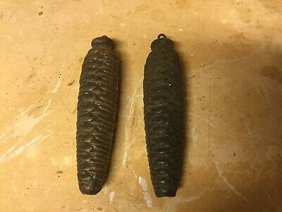 Antique Pair Of Cuckoo Clock Pine Cone Weights