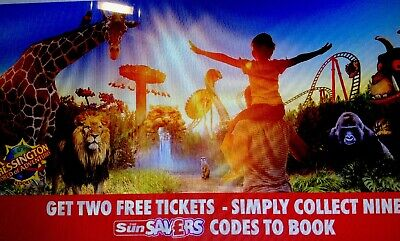 Great Sun Offer 2 X Chessington Tickets - All Nine Codes To Book Online