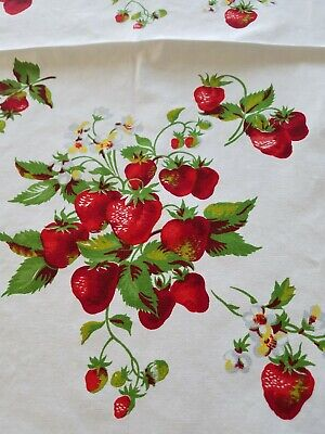 """WILENDUR  Vintage 1950's Cotton Tablecloth With Strawberries 53"""" x 64"""" BEAUTIFUL"""