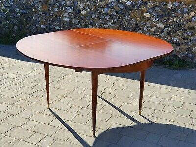 Superb Mid Century Modern Brass Inlay Oval Extendable Dining Table