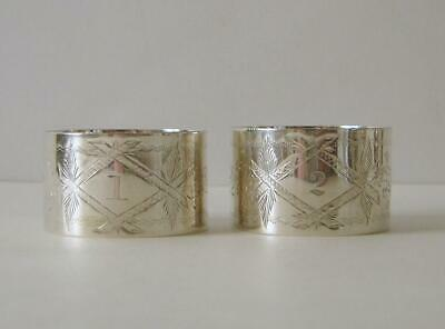 A Matched Pair Of Victorian Sterling Silver Napkin Rings Sheffield 1891