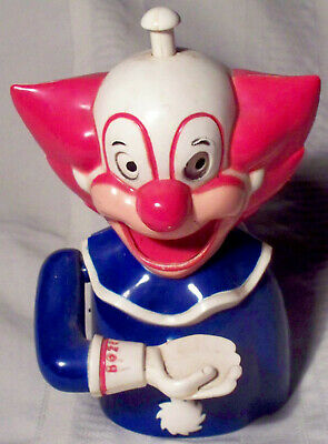 1971 Bozo the Clown plastic vtg mechanical coin bank ~ by Larry Harmon/Banthrico