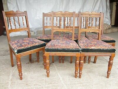 Set of 6 Victorian golden oak arts and crafts dining chairs (ref 773)