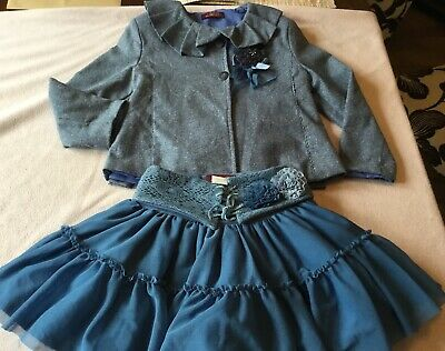 Loan Bor,(Lb) ,Blue ,Tweedy,Suit/Outfit~Frill Jacket & Full Skirt Age 5
