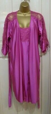 Vtg Style Shapely Lady Gorgeous Cerise Pink Glossy  Negligee + Nightie Sz 16-18