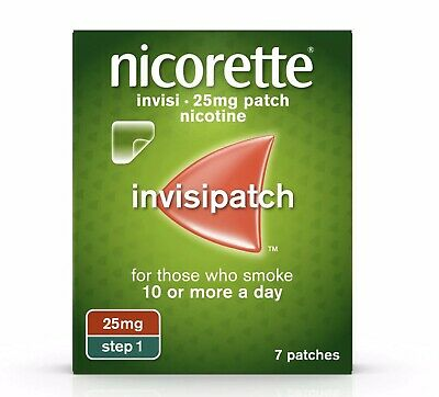 10 x Nicorette Step 1 25mg Invisi Patches 7 Days Brand New ( £5 Per Pack )