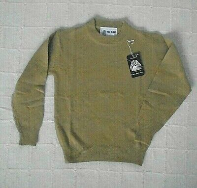 "Vintage Quality Lambswool Jumper- 28"" Chest - 8-9 Years -Camel - Crew-Neck - New"