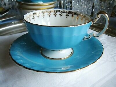 Aynsley Bone China..teacup And Saucer.. Light Blue W/ Gold Flowers.. Beautiful